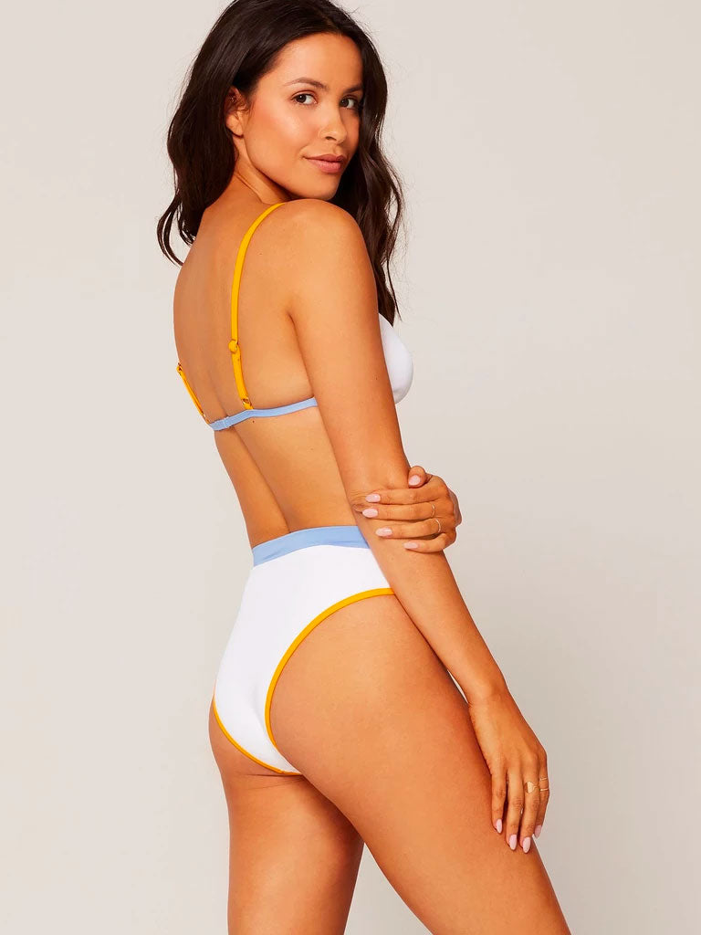 L*Space - Ribbed Frenchi Bottom - White/Mango/Periwinkle