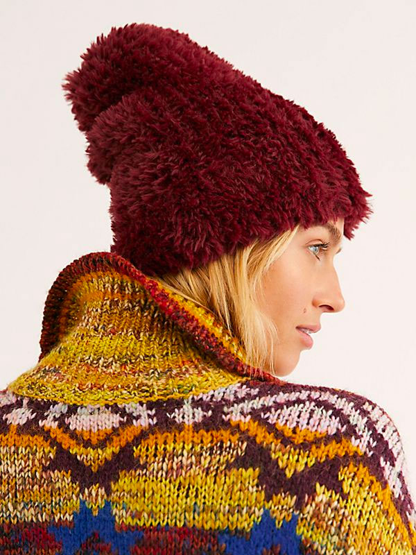 Free People - Head in the Clouds Fuzzy Hat Wine