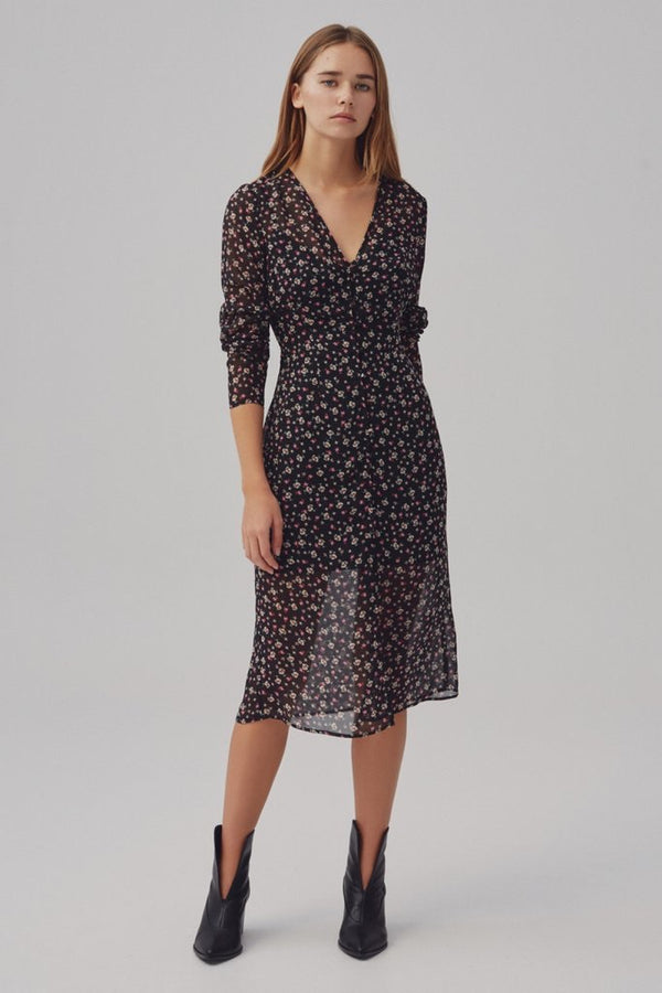 The Fifth Label - Current Long Sleeve MIDI - Midnight Floral
