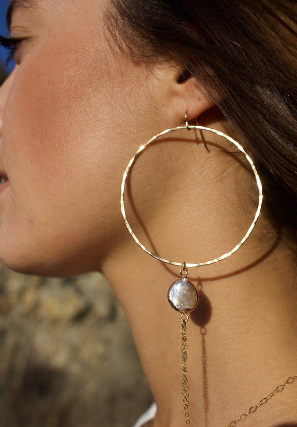 Toasted - Dainty Pearl Hoops with Gold Tassels