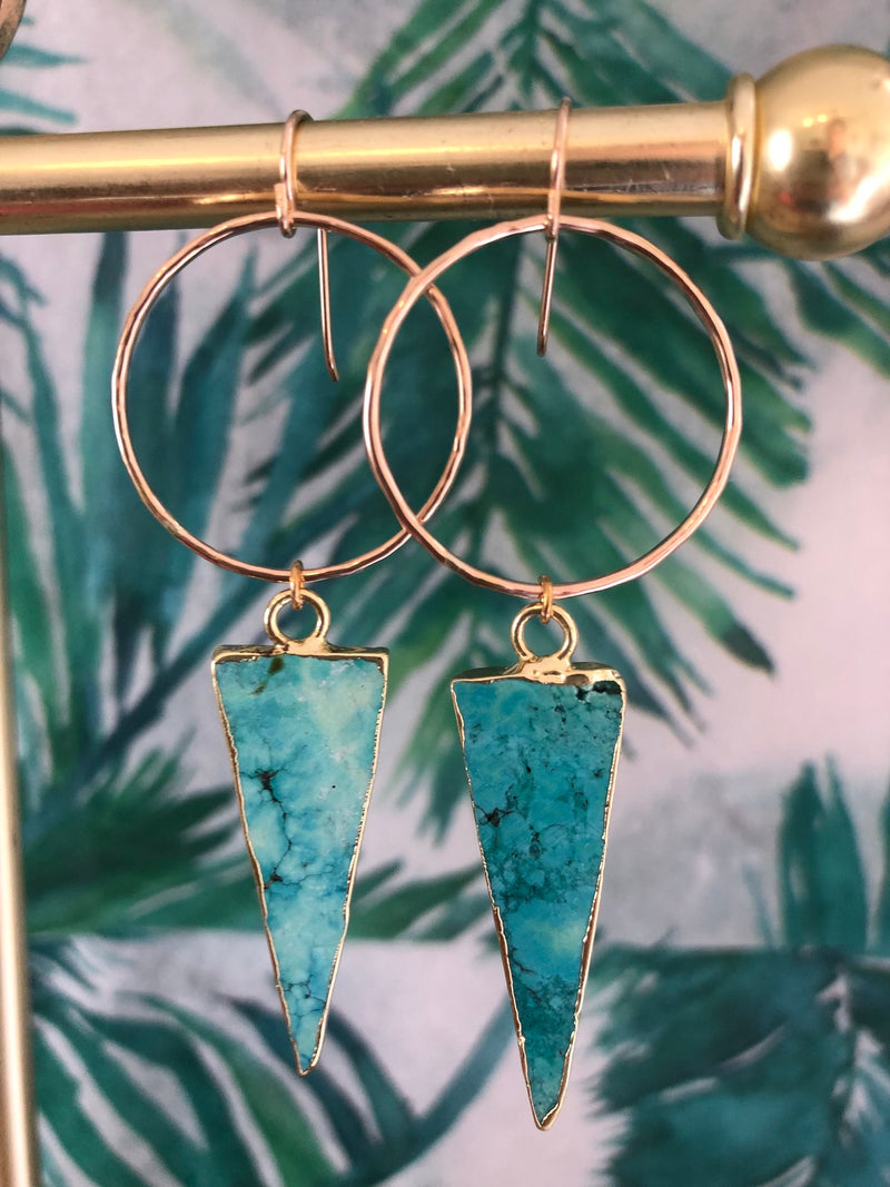 Toasted - Mini Turquoise Spike Hoops