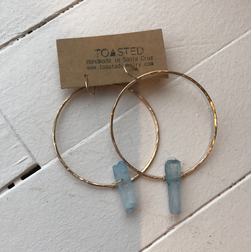 Toasted - Blue Crystal Hoops