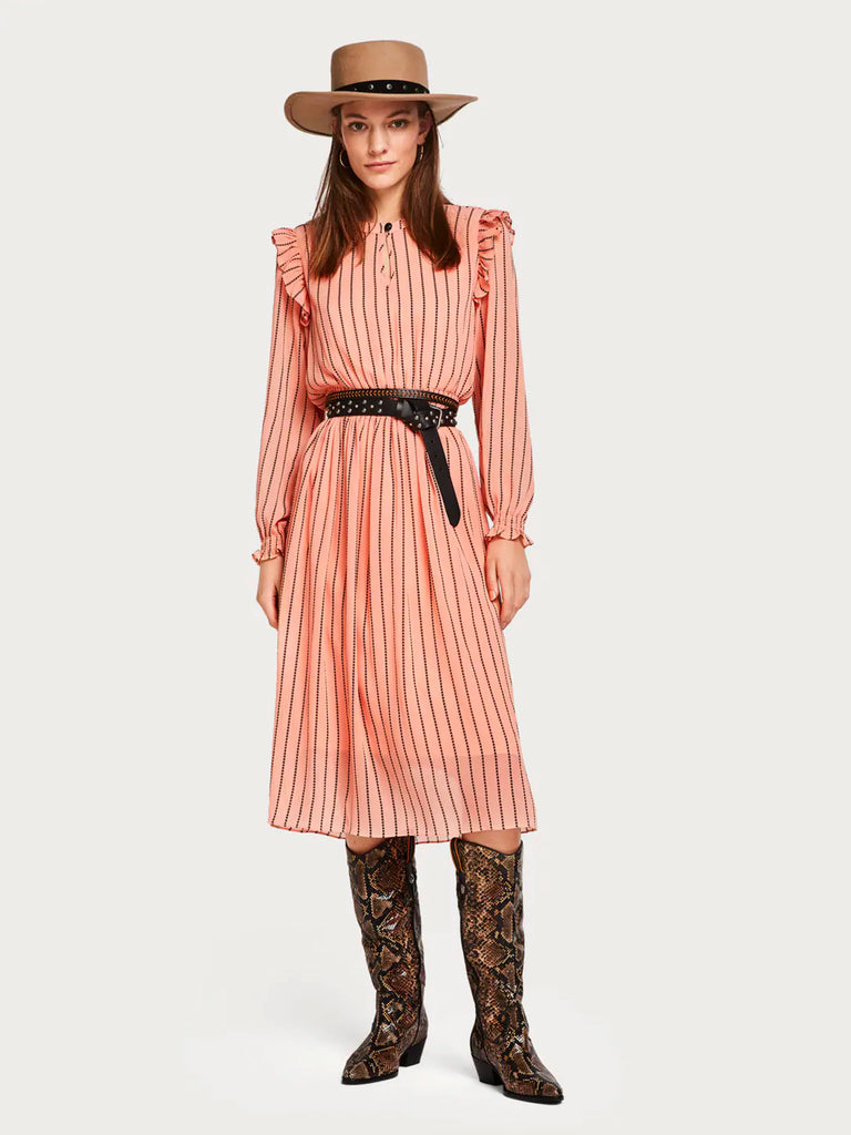 SCOTCH & SODA Sheer Printed Dress - Pink Stripe