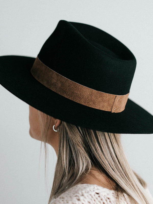 Gigi Pip - Miller Fedora - Black with Brown Band