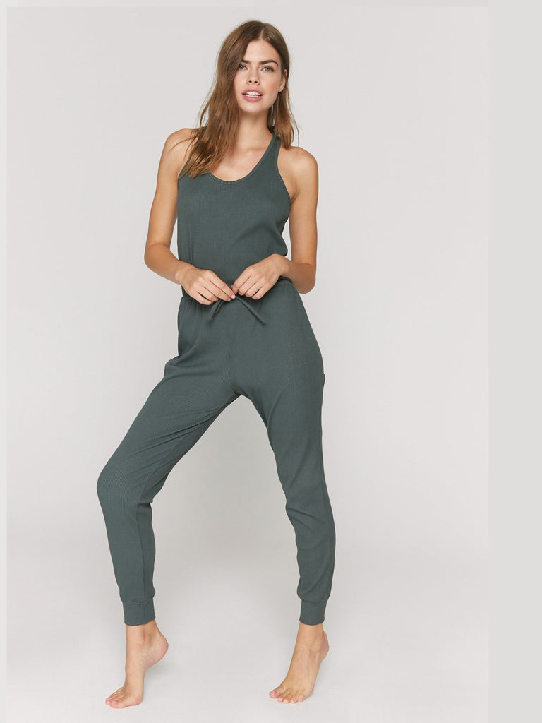 Spiritual Gangster - Giselle Rib Jumpsuit - Olive Green