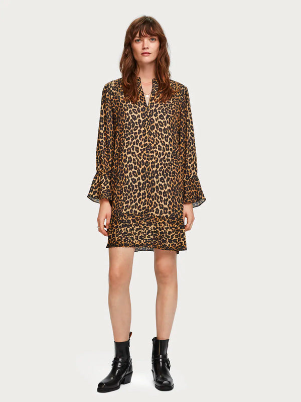 Scotch & Soda - Pleat Detail Dress - Animal