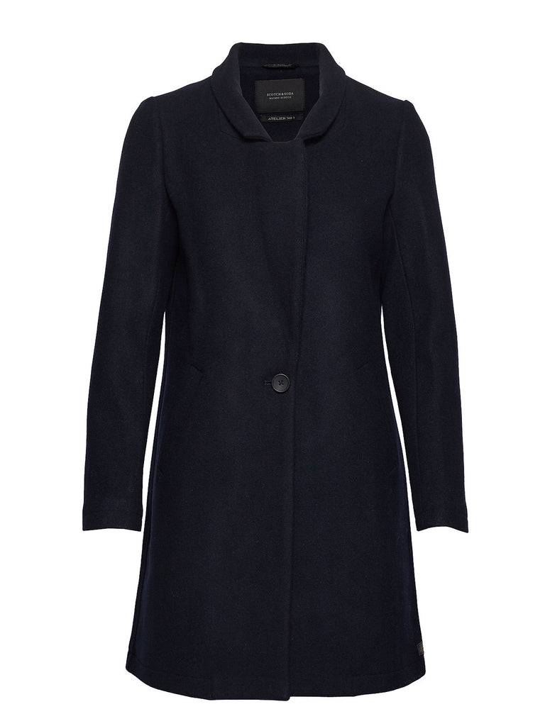 Scotch & Soda - Classic Tailored Coat with Half Lining - Navy