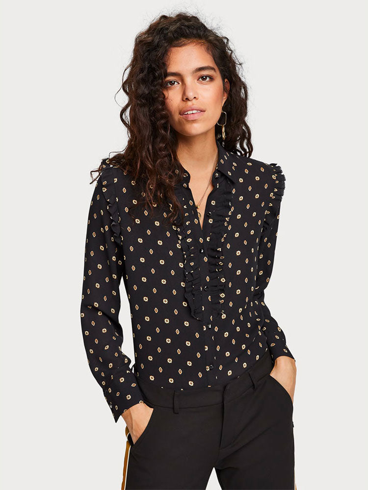Scotch & Soda - Ruffle Detail Blouse