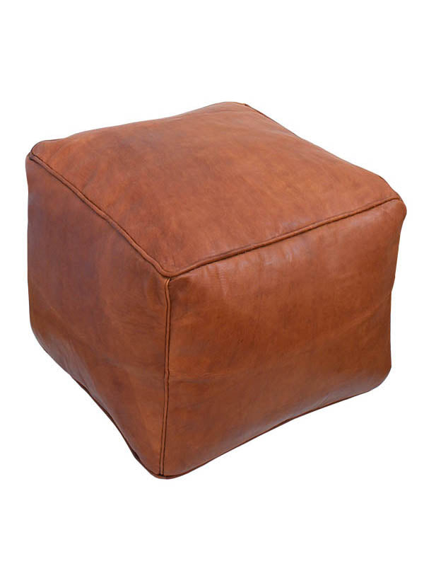 Square Leather Pouf Handmade in Morocco – Tan Leather