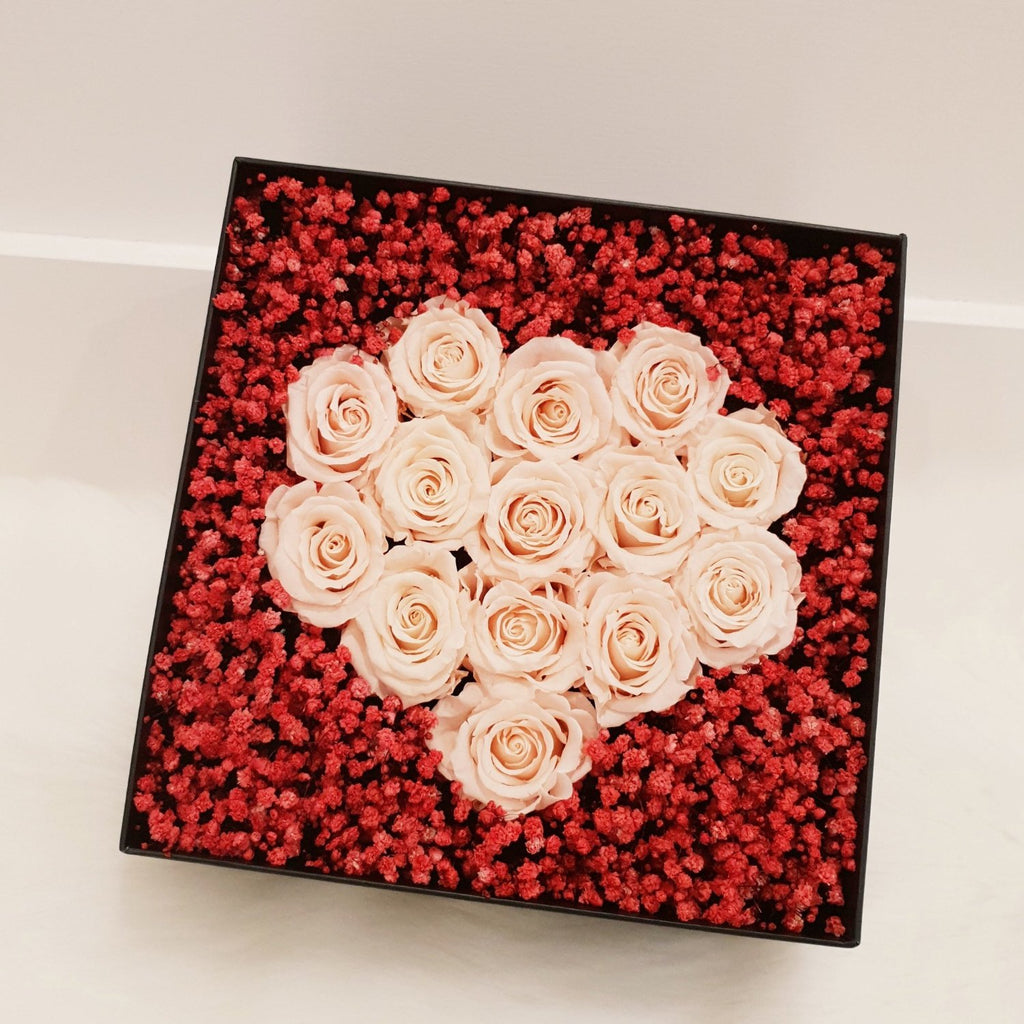 rose box, rose box sydney, flower, flower box, flower box sydney, sydney flower delivery, eternity rose, long lasting rose, preserved rose, preserved flower, heart box, babys breath