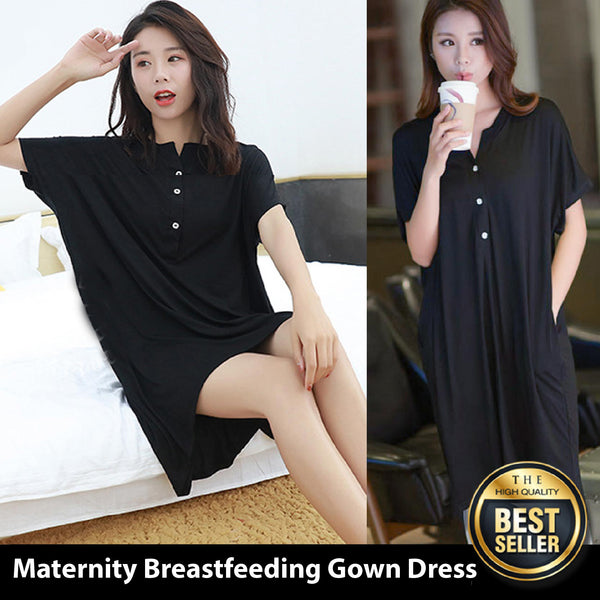Maternity Nursing Delivery Nightgowns Tracksuit Breastfeeding Gown Dress