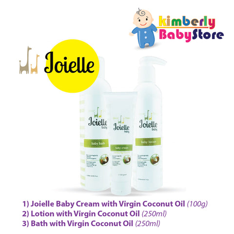 Joielle Baby Cream + Lotion + Bath with Virgin Coconut Oil (Combo)