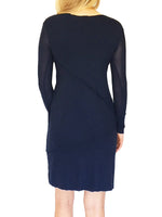 Sheer Sleeve Mesh Sheath Navy Dress with Raw-Edge Seams Accent