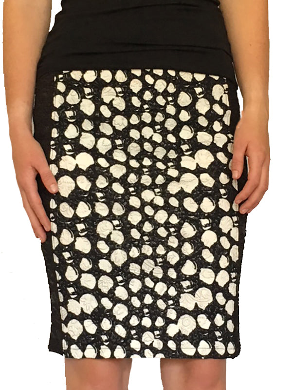 White and Black Knee Length Pencil Skirt