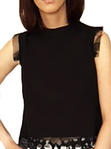 Black Top With Overlap Back Closure - Xs - Top