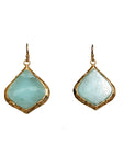 Gemstone Diamond Shape Dangle Earrings