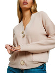 New Beige Cardigan in Fine Rib Knit