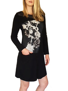 Long Sleeve Novelty Black Dress with Pocket by Deca Paris