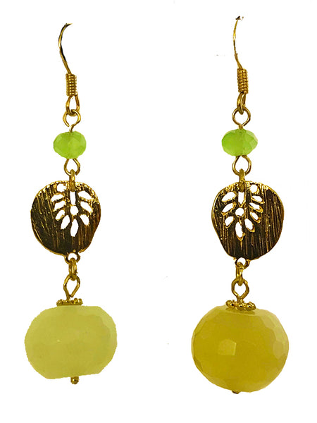 JEWELRY. Jade Dangling Earrings with Metal Leaf