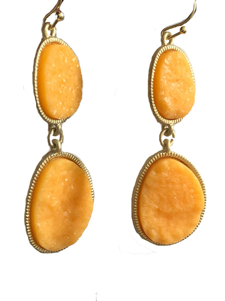 Druzy Stone Orange Oval Links Earrings