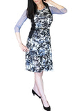 Sheer Sleeve A-line Dress. Floral Patch and Solid Print Combination
