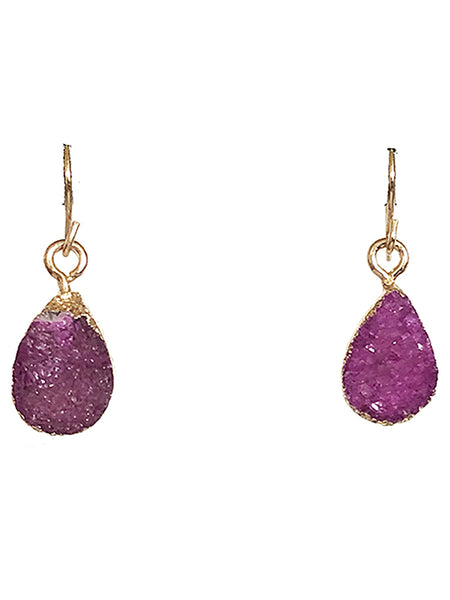 Teardrop Druzy Gemstone Earrings