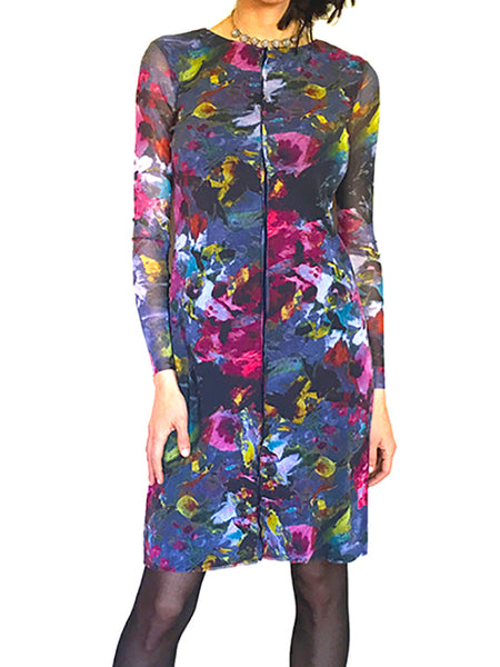 Sheer Sleeve Mesh Sheath Dress. Floral-Print, Blue and Roseberry Colors