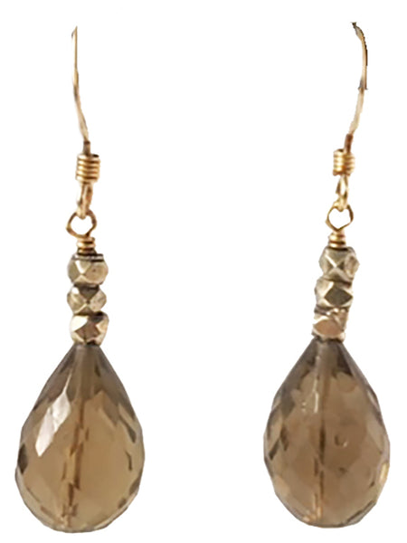 Smoky Quartz with Pyrite Handmade Earrings