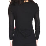 Sheer Sleeve Crew Neck Top With Mini Ruffle Seam and Print Fabric Front