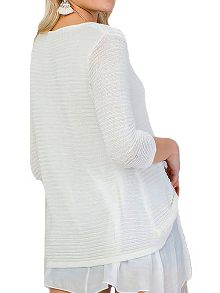 3/4 Sleeve Fully Lined Viscose Knit Top