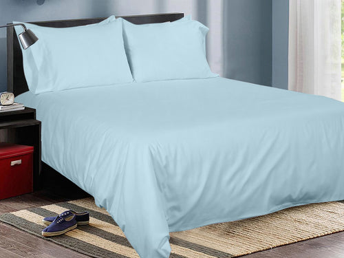 Aqua Cotton Solid Bed Sheet Set