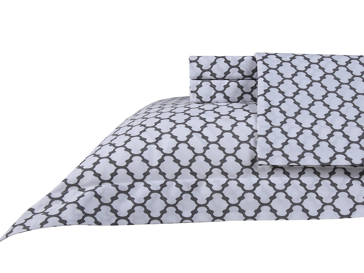 Honeycomb Cotton Printed Bed Sheet Set