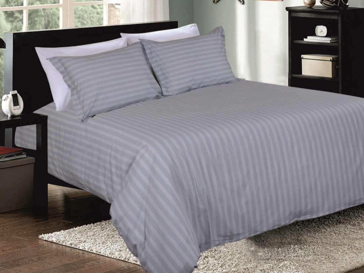 Playful Pinstripe Cotton Printed Bed Sheet Set