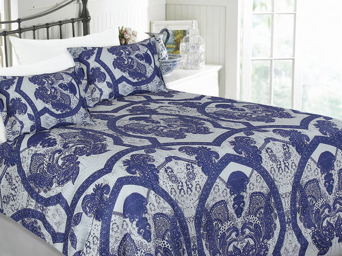 Paisley Blue Cotton Printed Bed Sheet Set