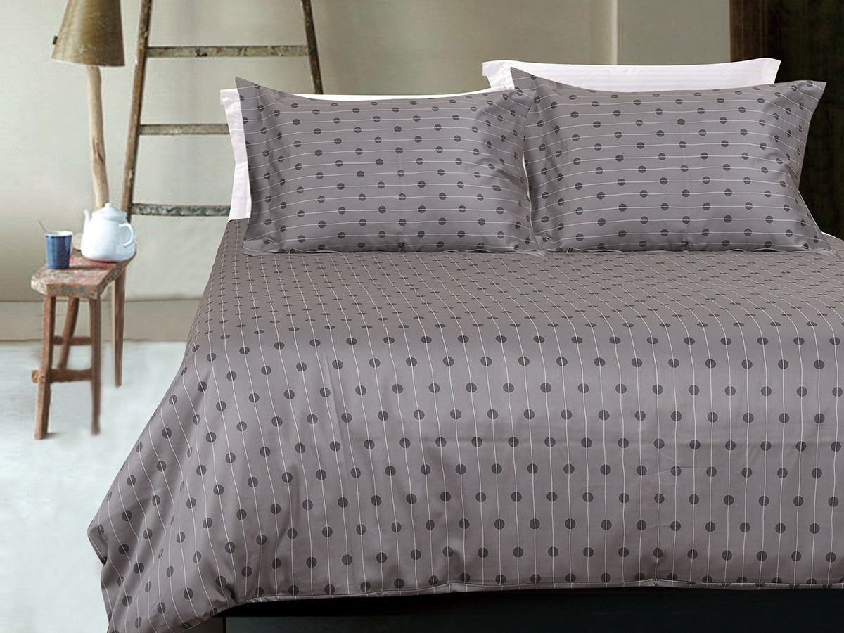 Steel Wavy Dot Line Cotton Printed Bed Sheet Set