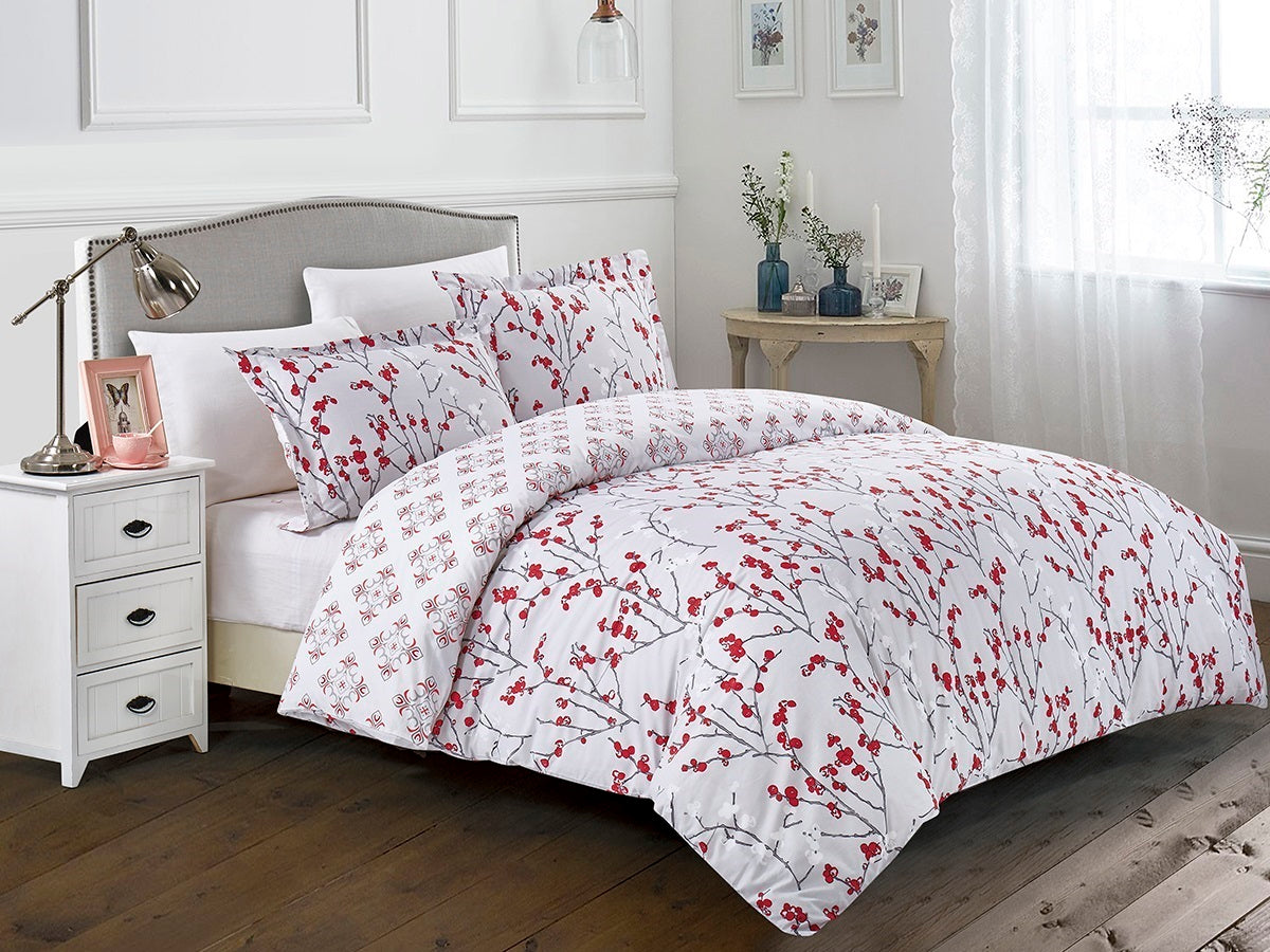 Ordinaire Cherry Blossoms Cotton Printed Bed Sheet Set