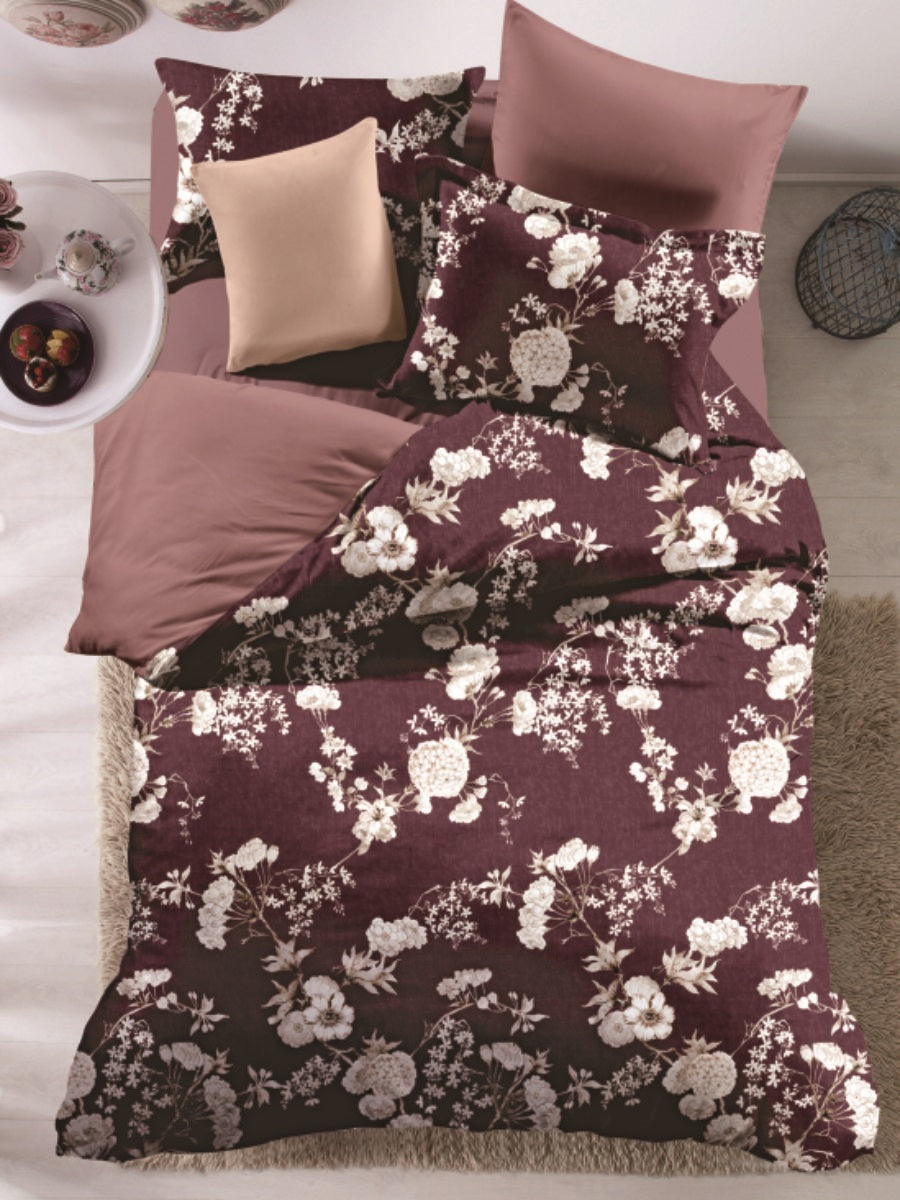 Chocolate Floral Bloom Microfiber Printed Bed Sheet Set
