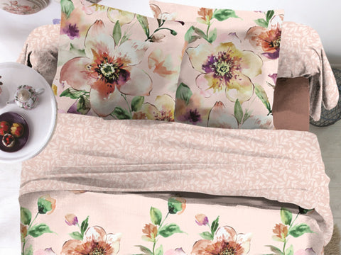 Ornate Florals Microfiber Printed Bed Sheet Set