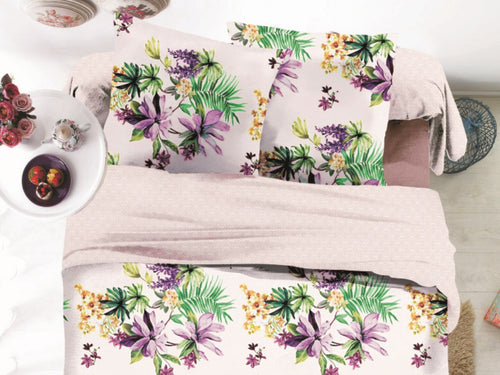 Tropic Purple Microfiber Printed Bed Sheet Set