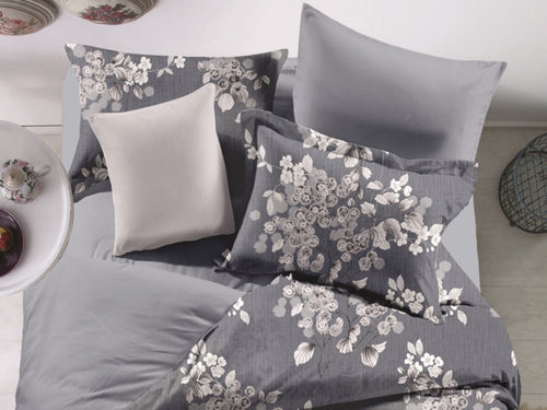 Grey Garden Microfiber Printed Bed Sheet Set