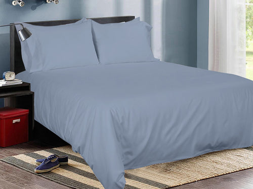 Midnight Blue Cotton Solid Bed Sheet Set