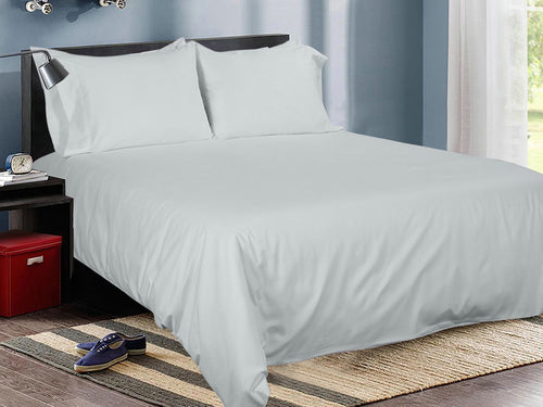 Glacier Grey Cotton Solid Bed Sheet Set