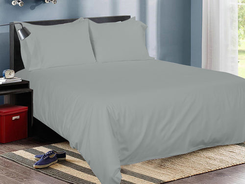 Silver Slumber Cotton Solid Bed Sheet Set