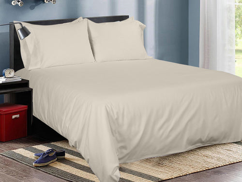 Latte Cotton Solid Bed Sheet Set