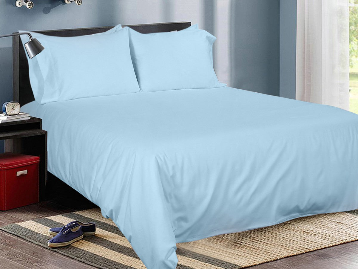 Light Aqua Cotton Solid Bed Sheet Set
