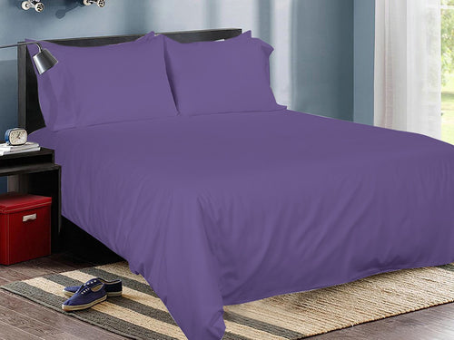 Purple Cotton Solid Bed Sheet Set