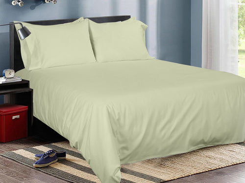 Sage Cotton Solid Bed Sheet Set