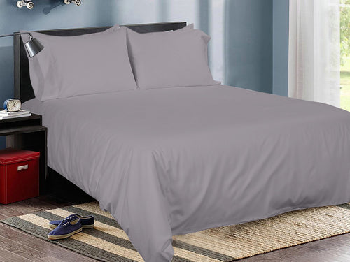 Smoke Cotton Solid Bed Sheet Set