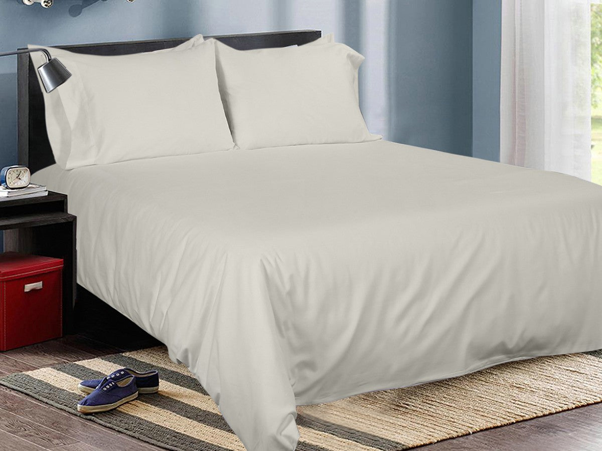 Light Taupe Cotton Solid Bed Sheet Set