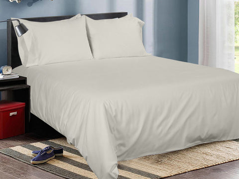 Oxford Tan Cotton Solid Bed Sheet Set
